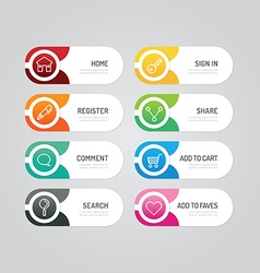 Modern banner button with social icon design vector image vector image