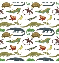 Reptiles animals seamless pattern vector image vector image