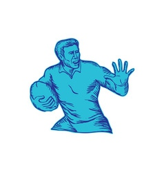 Rugby Player Running Fending Etching vector image vector image