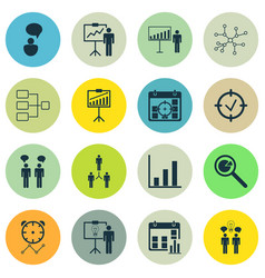 Set of 16 executive icons includes opinion vector