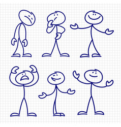 simple hand drawn stick figures set vector image vector image
