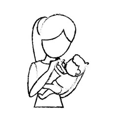 sketch mother and her baby holding vector image