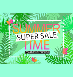 summer sale jungle background vector image vector image