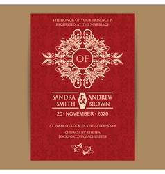 Wedding red vintage invitation vector image