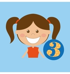 happy girl student school number icon vector image
