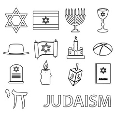 judaism religion symbols set of outline icons vector image vector image