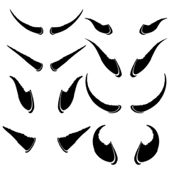 Set of Animal Horns Isolated on White Background vector image