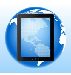 tablet computer and Earth vector image vector image