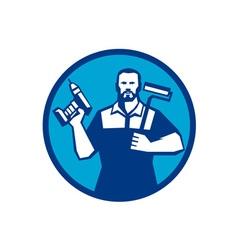 Bearded Handyman Cordless Drill Paintroller Circle vector image