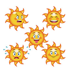 collection funny sun differents face cartoon vector image