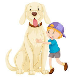Little boy and pet dog vector image vector image
