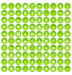 100 wireless technology icons set green circle vector