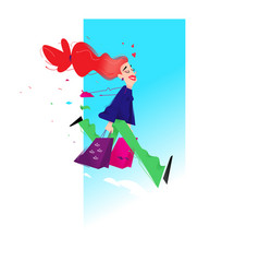 a cute girl with shopping a cute red-haired girl vector image