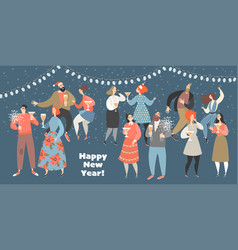 a new year party with funny people dancing twist vector image