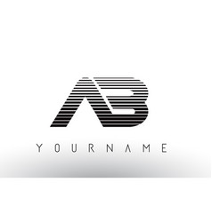 ab black and white horizontal stripes letter logo vector image