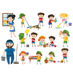 Adults and kids in various cleaning positions vector