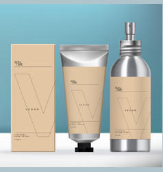 Aluminum beauty packaging set vector