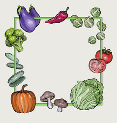 background with hand-drawn vegetables vector image