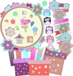 Background with owl flowers birds and gift boxes vector
