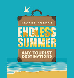 banner with travel suitcase and seascape vector image