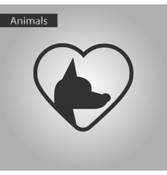 Black and white style icon dog heart vector