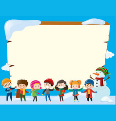 Border template with children in winter vector