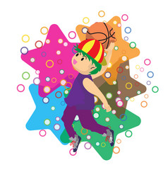 boy air slam basketball character design cartoon vector image