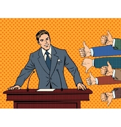 Businessman speaker business concept like dislike vector image