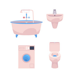 Cartoon bathroom appliances set vector