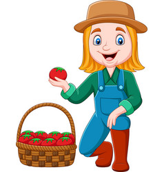 cartoon girl harvesting tomatoes vector image