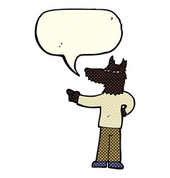 Cartoon pointing wolf man with speech bubble vector