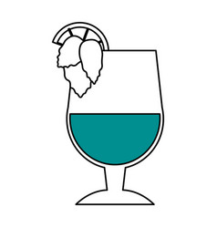 color silhouette image glass cup of cocktail with vector image