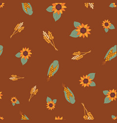 corn crop and sunflowers on brown background vector image