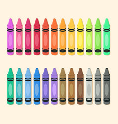 Crayons set colorful school art supplies vector