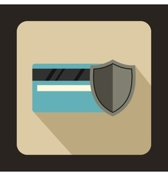 Credit card and shield icon flat style vector image