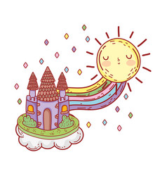 cute fairytale castle with rainbow and sun kawaii vector image