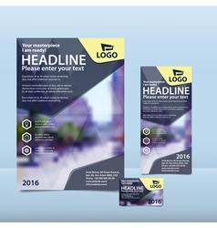 Dark blue brochure flyer and card design vector