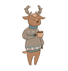 deer in a sweater with a mug isolate on a white vector image