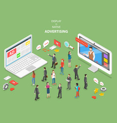 Display vs native advertising isometric vector