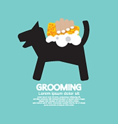 Dog Shower With Soap And Sponge Pet Grooming vector