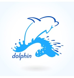 dolphin sea sketch vector image