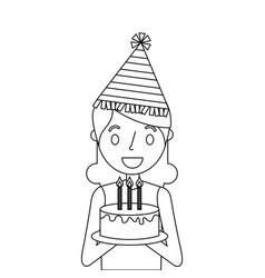 Elderly woman grandmother holding birthday cake vector