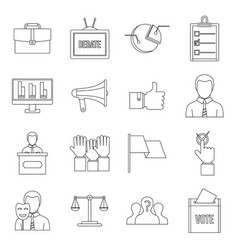 election voting icons set outline style vector image