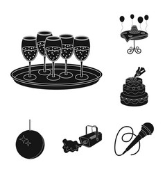 Event organisation black icons in set collection vector