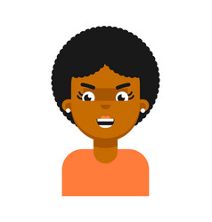 evil facial expression of black girl avatar vector image