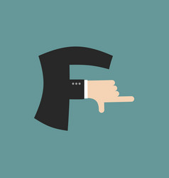 F letter businessman hand font it shows finger vector