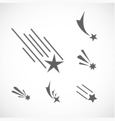 falling star icon set set of different star icons vector image