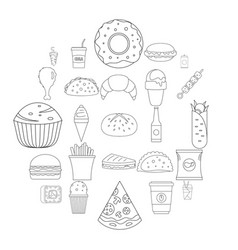fast food icons set outline style vector image