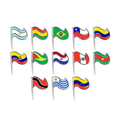 flags of south america pack vector image