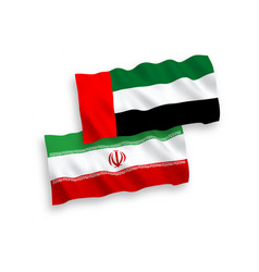 Flags united arab emirates and iran on a white vector